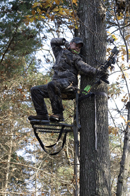 In a tree, a bow hunter in a camouflage outfit is ready to fire from the top of his platform.
