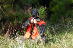 A man in a camouflage outfit with an orange vest is leaning in the grass, pointing his firearm towards the camera.