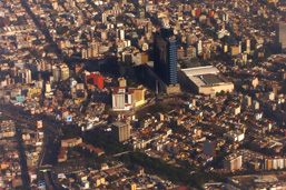 Aerial photograph of a section of Mexico City.
