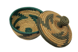 African woven basket and cover.