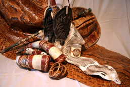 Various objects made from snake anatomical parts: python and cobra skin, hat, snakeskin boots and bracelets, canned rattlesnake meat, walking stick and horns covered with python skin.