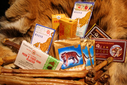 Products made from tigers in the traditional Asian medicine: whole pelt, bandages, balm, dried penises.