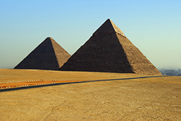 A panoramic view of two of the three great Pyramids of Egypt.